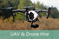 UAV Drone hire for aerial photography, videos, inspections and surveys